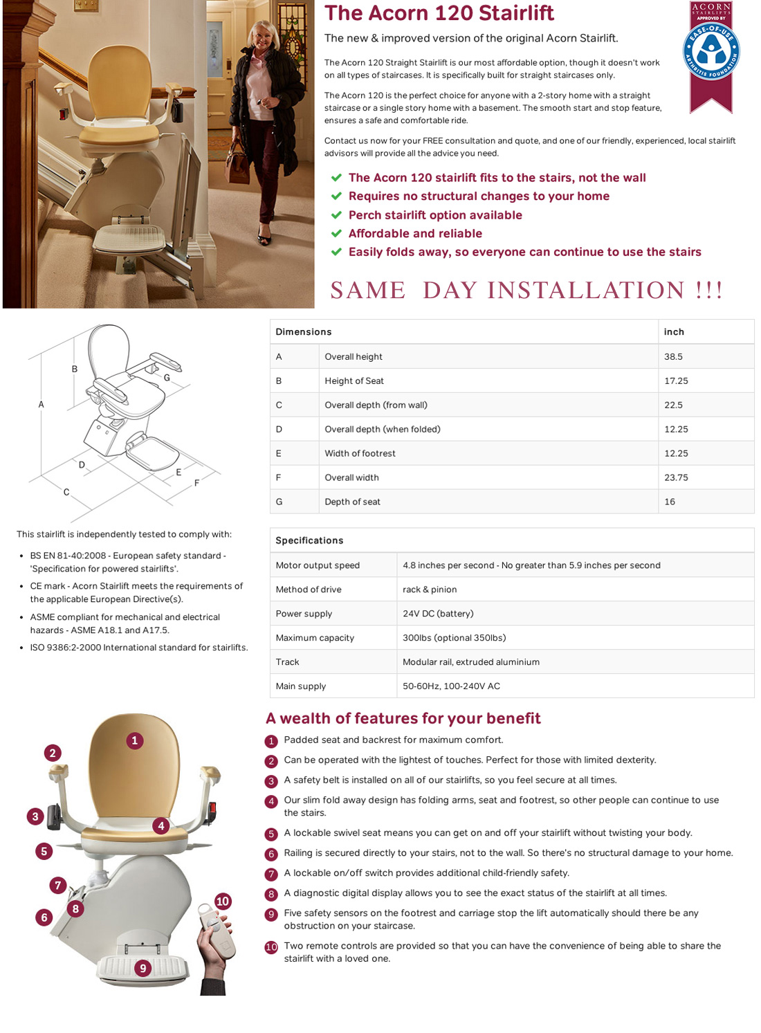 Stairlift Straight  stair chairs